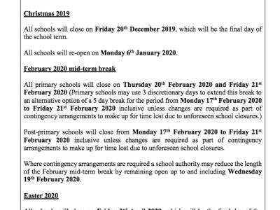 Calendario Escolar Universidad De Panama 2019.Calendario Escolar En Irlanda