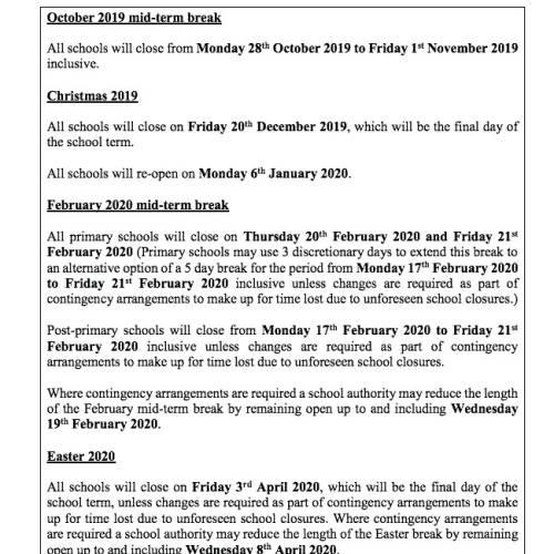 Calendario escolar en Irlanda 2019 2020