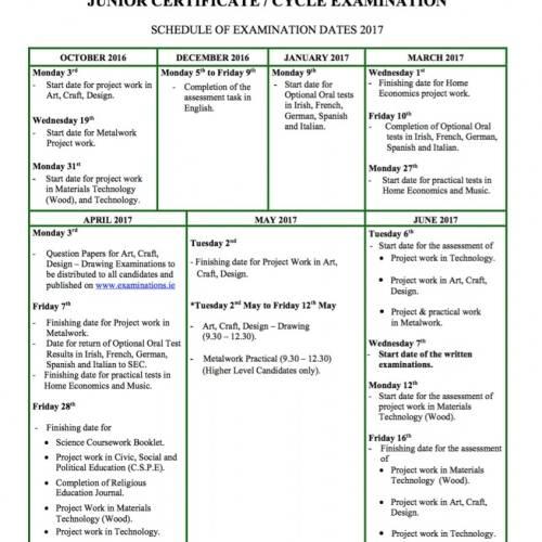 fechas exámenes 2017