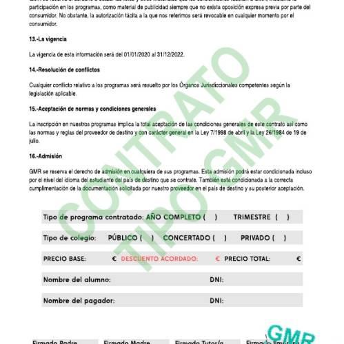Contrato curso escolar en Irlanda